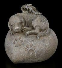 Tierurne - Hunde-Engel auf Herz in Steinoptik | Dekoartikel, handbemalt, B 18 cm