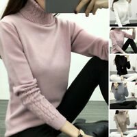Fashion Women's Cable Knitted Sweater Long Sleeve Polo Roll Neck Jumper Tops