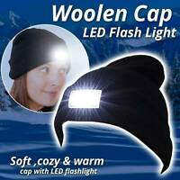 Men Women Knitted Beanie Hat With LED Light Warm Winter Outdoor Hunting Camping
