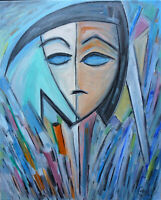 A BLUE PARADOX new modern cubism oil painting 16x20 original art signed CROWELL