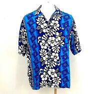 Cordinal Shirt Mens Size XXL 2XL Hawaiian Aloha Bright Blue Wht Hibiscus Floral