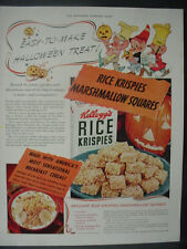 1941 Kellogg's Rice Krispies Cereal Marshmallow Squares Vintage Print Ad 12611