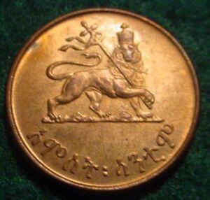 HI GRADE BU RED 1944(EE1936) 1 CENT KINGDOM OF ETHIOPIA**SUPERB DETAILS*