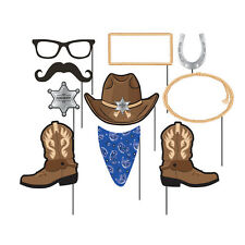 Blue Bandana Photo Booth Props [10pc] Western Cowboy Party Supplies Decorations