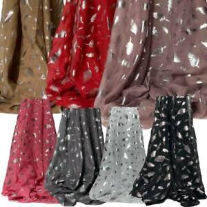 Feather Print Scarf Foil Ladies Winter Shawl Pashmina Stole Blanket Wrap Animal