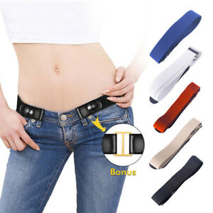 Mens Womens Buckle Free Elastic Invisible Waist Belt For Jeans No Bulge Hassle