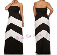 PLUS SIZE BLACK WHITE CHEVRON TUBE LONG SLEEVELESS MAXI DRESS BOHO 1X 2X 3X USA
