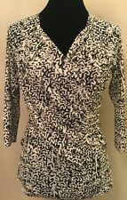 Anthropologie Meadow Rue Womens Ruched Blouse Large Black Print 3/4 Sleeve
