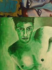 Artur-? ELMER *1939 Gemälde: ENTWICKLUNG - /Oberkörper Mann/ nackte Frau /Akt