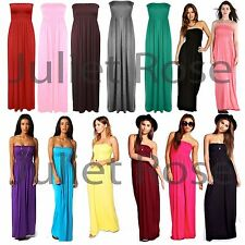 Women Bandeau Maxi Dress Ladies Off Shoulder Sheering Boob tube Long Dresses
