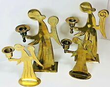 """New Listing4 Vintage Brass Angel Candle holders Home Brass Decor Mantel Center Piece 9"""", 6"""""""