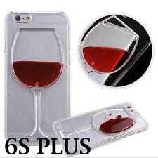 For iPhone 6+ / 6S+ PLUS - Red Wine Glass Liquid Transparent Hard PC Case Cover