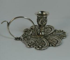 Georgian English Silver Floral Chamberstick or Taperstick