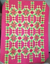 Luscious Pink and Green Pinwheel Quilt