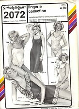"Stretch & Sew Pattern Women's LINGERIE COLLECTION 2072 Bust Sz 30"" to 46"" UNCUT"