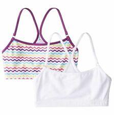 Trimfit Girls' Racerback Crop Top 2 Pack, White/Purple/Multi/Zigzag, Large