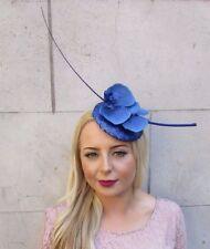 Royal Blue Orchid Quill Feather Fascinator Pillbox Races Hat Headpiece Clip 4031