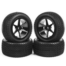4Pcs RC Front & Rear Off-Road Rubber Tires &Wheel Rim For 1:10 Buggy Car B01