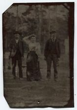 ANTIQUE TINTYPE OUTDOOR SCENE TRAPPERS, TWO MEN AND A WOMAN.