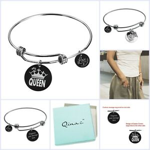 My Queen Crown Wife Engraved Pesonalized Photo or Message on Round Charm Bangle