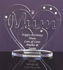 Personalised Heart for Mum w Message, Birthday, Mother's Day Gift - Freestanding