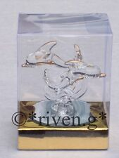 DOLPHINS FIGURINES Glass GIFT Set@Mirror Base@CAKE TOPPER@CREST OF A WAVE@SWIM