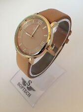 F&MJ753 Gold & Tan Ladies Watches Women Fashion Bracelet Softech Quartz Watch