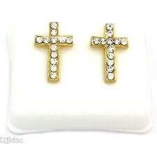 Mens 14k Gold Plated Cz HipHop Bullet Back Iced Out Earring Smooth Cross