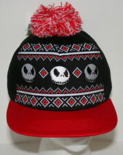 Jack Skeleton Nightmare Before Christmas Sweater Pom-Pom Hat Cap New OSFM