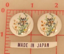 24 Vintage white ceramic round cabochons with bearded iris flower decals 24mm