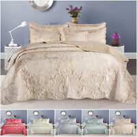 Embroidered Bedding Set Quilted Bedspread Throw with Pillow Shams Double & King