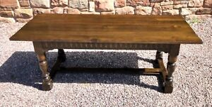 Carved Solid Oak Refectory Table / Farmhouse Table / Dining Table 7ft Long