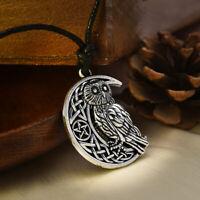 Wicca Owl Necklace Goddess Crescent Moon Pendant Pentagram Pagan Amulet Talisman