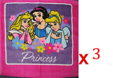 Set of 3 - 100% Cotton LICENSED Disney Princess Velour Face Washers 30cm x 30cm