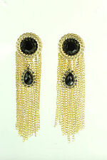 LADIES GOLDEN TASSELED BLACK STONE EARRINGS STATEMENT WEAR CLASSIC LOOK (CL10)
