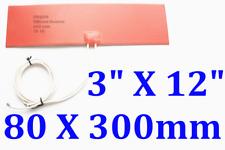 "3"" X 12"" 80 X 300mm 12V 100W w/ 3M w/ 80C Thermostat JSR2 CE UL Silicone Heater"