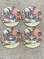 (4) Lady Clare Round Cork Placemats Tiddy-Doll Made In England - 8.5""