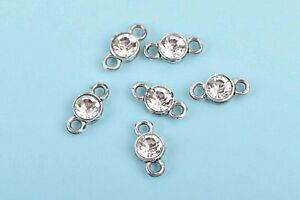 10 Silver Rhinestone Connector Link Charms, CLEAR crystal drop charms, chs2909