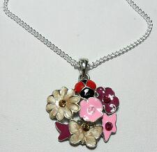 Flowers, butterfly, ladybird enamel pendant - 18'' chain