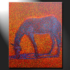 Original Painting Canvas Horse Sun Shadow Contemporary Against Light GeeBeeArt