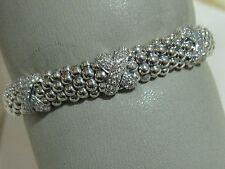 "Designer LAGOS S/S Triple Diamond Pave' ""X"" Rope Bracelet"