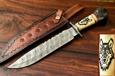 Custom Handmade Damascus Blade Laser Etched Arrow Girl Hunting Bowie Knife