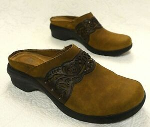 Ariat Tooled Leather Western Mules Slide Clogs Boot Size 9 B Brown