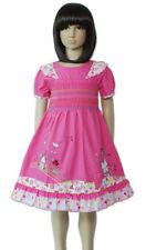 Algodón Chica Fruncido Vestido De Fiesta Rosa Fucsia Blanco 12-18 meses 4-5 AÑOS