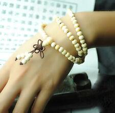 8mm Tibetan 108 White Sandalwood Buddhist Prayer Beads Mala Bracelet Necklace