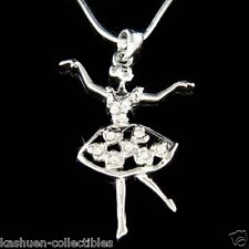 w Swarovski Crystal BALLERINA Heart Ballet Dance Girls Teacher Necklace New Gift