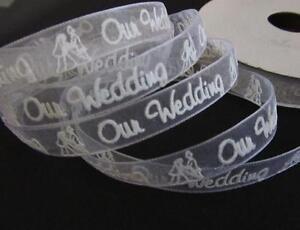 25 yard Spool Roll White Organza Sheer Ribbon/craft/favor-Our Wedding R2-3/8,7/8