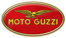 "MOTO GUZZI DIGITALLY CUT OUT VINYL OVAL STICKER. 6"" X 3"" OVERALL SIZE"