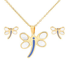 Fashion Gold Stainless Steel Dragonfly Pendent Necklace+Earrings Jewelry Set