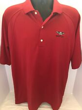 Bentley Auto Red Embroidered Short Sleeve Polo Golf Shirt Mens Sz LARGE